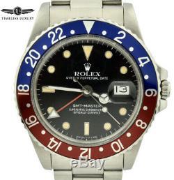 1987 Rolex GMT-Master 16750 Stainless Steel 40mm Black Dial Pepsi Bezel Watch