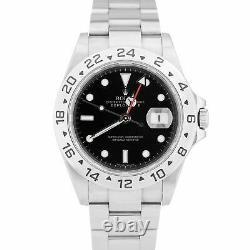 2007 Rolex Explorer II NO HOLES Stainless Steel Black Date GMT 40mm Watch 16570