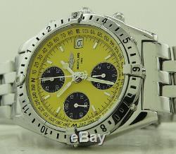 Breitling A20048 39mm Yellow Black Panda Dial Chronomat Longitude GMT Chrono