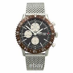 Breitling Chronoliner GMT Steel Brown Bezel Grey Dial Watch Y2431033/Q621-152A