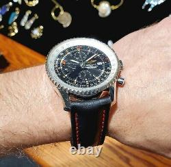 Breitling Navitimer World GMT Chronograph A24322 -New strap & Free S&H