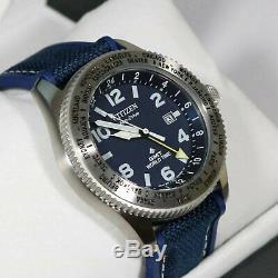 Citizen Eco Drive Promaster World Time GMT Blue Rubber Strap Men's Watch BJ7100