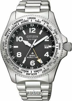 Citizen PROMASTER LAND BJ7100-82E Eco-Drive GMT World Time Men`s Watch FedEx