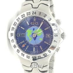 Ebel Sport Wave Meridian World Time GMT Stainless Automatic Men's Watch 9122641