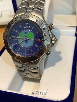 Ebel Sport Wave Meridian World Time GMT Stainless Steel Automatic Mens Watch