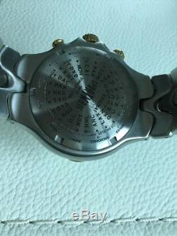 Ebel Sportwave GMT Meridian Worldtime 18K Solid Gold & Stainless Box Papers EUC