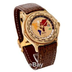 Ebel Voyager Rare GMT World Time 18K Yellow Gold Automatic Watch Mens Solid