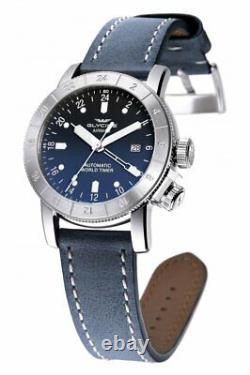 Glycine Airman World Timer GMT Blue GL0054 Swiss Automatic 3 Time Zones Watch