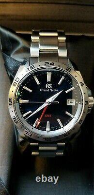 Grand Seiko Sport 9F GMT Quartz 39mm Steel Mens Bracelet Watch Date SBGN005