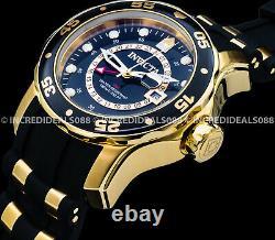Invicta Men SCUBA PRO DIVER GMT Gold Tone Black Dial Polyurethane Strap Watch