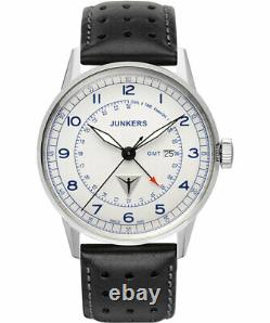 Junkers G38 Quartz watch GMT 2nd time zone 42mm steel case White dial 6946-3