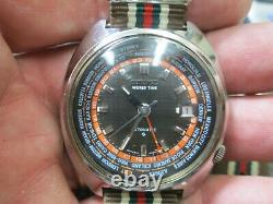 MENS Seiko WORLD TIME GMT Automatic DATE Stainless Steel Running WatCH
