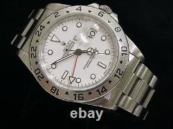 Mens Rolex Stainless Steel Explorer II Date Watch 40mm Oyster withWhite Dial 16570