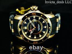 NEW Invicta Men's 48mm PRO DIVER SCUBA Swiss GMT BLACK DIAL Gold Tone SS Watch
