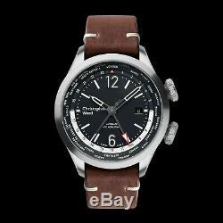New Christopher Ward C8 UTC WorldTimer (GMT) Automatic Watch World Time 44MM Brn