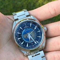 OMEGA Seamaster Aqua Terra GMT World Timer Blue 220.10.43.22.03.001 Complete Set