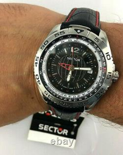 OROLOGIO SECTOR 490 GMT WORLD TIME SWISS DUAL TIMEr 44MM CORONA VITE UOMO SPORT