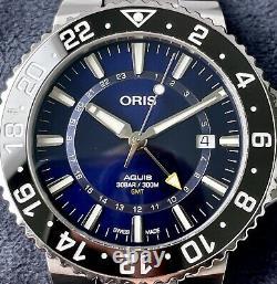 Oris Aquis GMT Swiss Automatic Men's Diver Watch Ceramic Bezel Blue Dial Steel