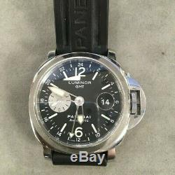 Panerai Luminor GMT Acciaio Mens Watch Rubber Strap PAM 88 Selling As-Is
