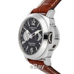 Panerai Luminor GMT Auto Steel Mens Strap Watch Date PAM 88