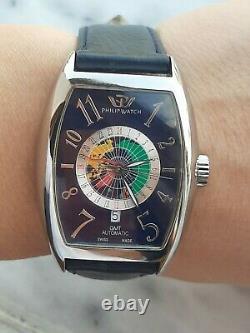 Philip Watch Panama Automatic Gmt World Time Tonneau 8223850015 Mens Swiss Made