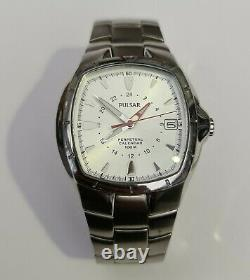 RARE Pulsar by SEIKO GMT PERPETUAL STAINLESS STEEL WATCH WHITE 8F56-X001 Read