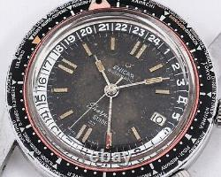 RARE Vintage 1963 TROPICAL Enicar Sherpa Guide 33 World Time GMT with Paddle Hands