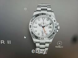 ROLEX EXPLORER II 40MM 16570 STAINLESS STEEL POLAR WHITE DIAL UNPOLISHED WithBOX