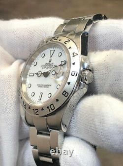 ROLEX EXPLORER II 40MM 16570 STAINLESS STEEL POLAR WHITE DIAL WithBOX -SEL- A SER
