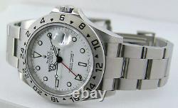 ROLEX Mens 40mm Stainless Steel Explorer II White Dial No Holes 16570 SANT BLANC
