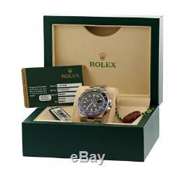 ROLEX Stainless Steel GMT Master II BlackBlue Batman Bezel 40mm 116710 Warranty
