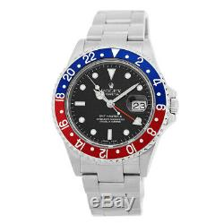 ROLEX Stainless Steel GMT Master II Pepsi 40mm 16710 Box Warranty Papers MINTY