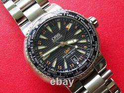 Rare Men Oris Diver Gmt World Time Ref 7608 Automatic Date 300m Clean