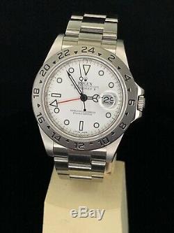 Rolex 16570 Explorer II 3186 Movement Polar White Dial Bezel Engraved Automatic