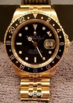 Rolex 16718 GMT Master II 18k Yellow Gold Mens Watch with RARE Jubilee Bracelet