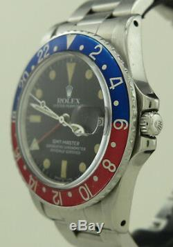 Rolex 16750 Steel Auto 40mm Pepsi Bezel Matte Dial Oyster Perpetual GMT-Master
