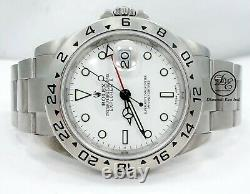 Rolex Explorer II 16570 GMT Date White Dial Men's Watch No Holes In Case MINT