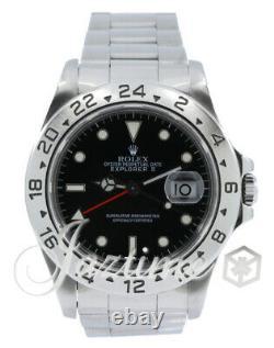 Rolex Explorer II GMT Date Black 40mm Steel Oyster 16570 Mens Auto Holes Case