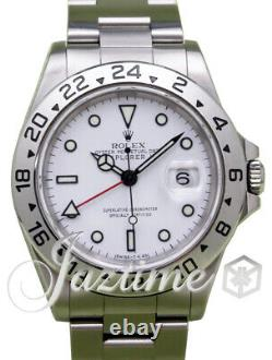 Rolex Explorer II GMT Date White 40mm Steel Oyster 16570 Mens Auto Holes Case