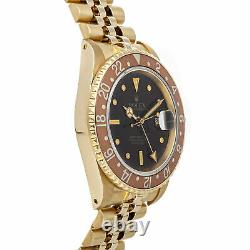 Rolex GMT-Master 40mm Automatic Yellow Gold Brown Dial Mens Watch Bracelet 16758