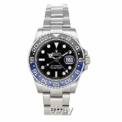 Rolex GMT-Master II Batman Auto Steel Men Oyster Bracelet Watch Date 116710BLNR