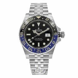 Rolex GMT-Master II Batman Ceramic Steel Jubilee Bracelet Watch 126710BLNR