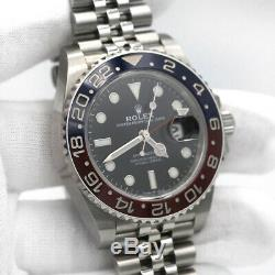 Rolex GMT-Master II Stainless Steel 40 Watch Black and Red Pepsi Bezel 126710