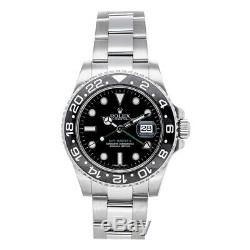 Rolex GMT-Master II Steel Auto Men's Watch Steel Bracelet Black Dial 116710LN