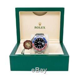 Rolex Men's GMT-Master II Wristwatch, Pepsi Bezel, Black Face, 16710