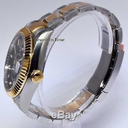 Rolex NEW Sky-Dweller Black Dial 18k Gold & Steel 42mm Watch Box/Papers 326933
