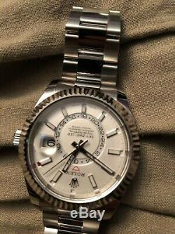 Rolex Sky-Dweller Auto 42mm Steel White Gold Mens Oyster Bracelet Watch 326934