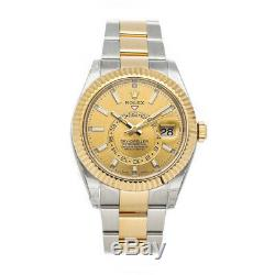 Rolex Sky-Dweller Auto Steel Gold Mens Oyster Bracelet Watch Date GMT 326933