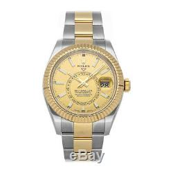 Rolex Sky-Dweller Steel Gold Auto 42mm Fluted Bezel Oyster Bracelet Mens 326933