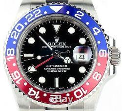 Rolex Stainless Steel GMT Master II Custom Pepsi Blue Red Ceramic 116710 Read